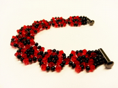 Flower Links Bracelet Crystal Beadwork Jewellery Making Kit with SWAROVSKI® ELEMENTS crystal beads Red and Black